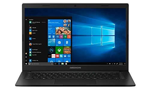 Medion E4251 – Ordenador portátil ultrafino 14″ FullHD (Intel Celeron N4000, 4GB RAM, 64GB de almacenamiento, Windows 10) color negro – Teclado QWERTY Español