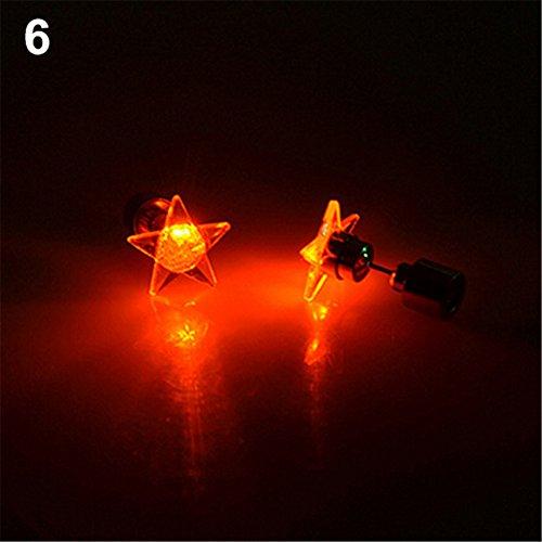beiguoxia Let's Party LED Licht Stern Ohrringe Ohrstecker für Tanz-Party Weihnachten Halloween Festival Geschenk – Weiß, rot, Einheitsgröße