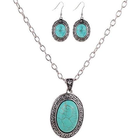 Yazilind Retro tibetischen Silber Oval Carve Türkis Anhänger Halskette Ohrringe Schmuck-Set für Frauen-Geschenk