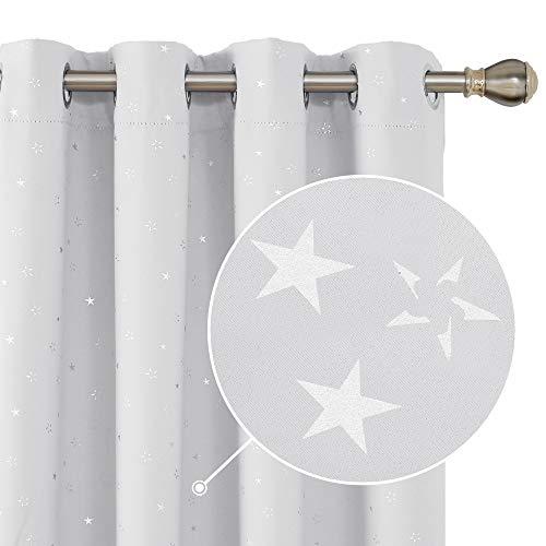 Deconovo Kleine Sterne Verdunkelungsvorhang Blickdicht Gardinen mit Ösen Wohnzimmer 240x140 cm Weiß Grau 2er Set