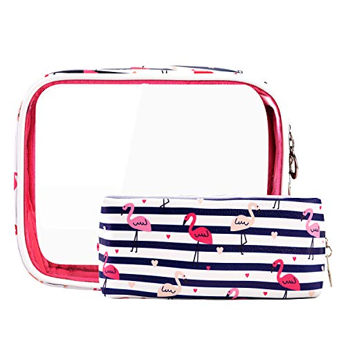 Lvtree Trousse de Toilette imperméable et Portable en PVC Transparent Flamant Rose