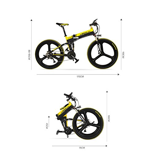 "418qnT0a2XL. SS500  - GTYW Electric Folding Bicycle Mountain Bicycle Blue Kress Electric Bicycle 26"" Inch Shimano 27 Speed Oil Dish Panasonic Lithium Five Gear Booster Electric Vehicle"