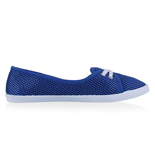 Damen Ballerinas Sportliche Stoffschuhe Slipper Flats Blau Netz