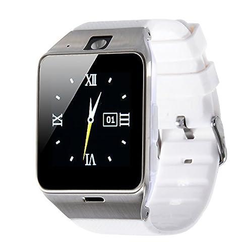 VOSMEP 2016 New Smartwatch Uhr Telefon mit Bluetooth 3.0 Smart Armbanduhr Telefon Sport Armband mit Kamera 1.5 Zoll Touch Screen für Android Samsung, HTC, LG Unterstützt SIM / TF Smartphones (weiß) SM12