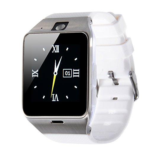 VOSMEP 2016 Nuovo Smart Watch Watch Phone Orologio Cellulare Telefonico con Bluetooth 3.0 Bracciale Intelligente Sport Bracelet con Camera 1.5 inch Touch Screen per Android Samsung HTC Xiaomi LG Huawei SIM Smartphones (Bianco) SM12