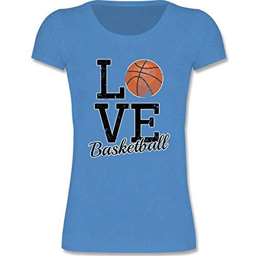 Sport Kind - Love Basketball - 134-146 (9-11 Jahre) - Blau meliert - F288K - Mädchen T-Shirt