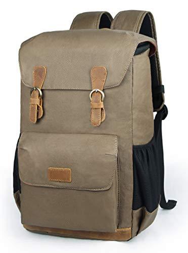 Sac à dos en cuir imperméable EverVanz, sac à dos en toile imperméable, sac à dos de camping de voyage, grand sac à dos de jour décontracté, sac à dos...