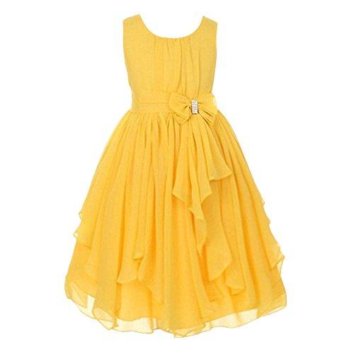 LSERVER Mädchen Sommer Kleid mitSchleife-Deco, Gelb, Gr. 104/110(Herstellergröße: 110)