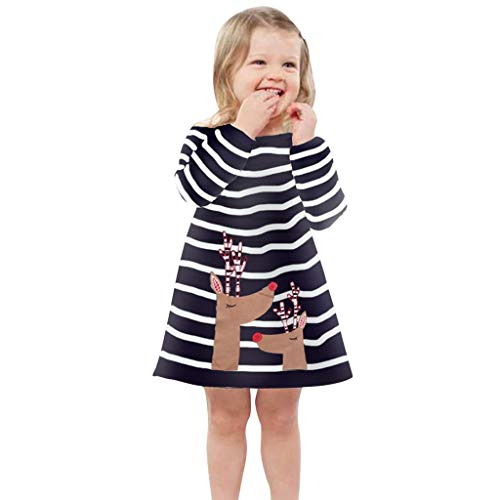 SUCES Mädchen Weihnachten Kleid Kinder Gestreifte Festlich Lange Ärmel Minikleid Prinzessin...