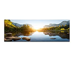 panoramabild auf leinwand und keilrahmen 150x50cm yosemite berge wald fluss sonnenaufgang. Black Bedroom Furniture Sets. Home Design Ideas