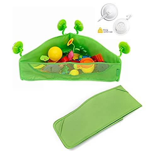 Jouet de Bain Triangle Sac de rangement , Chickwin bébé Jouet de Bain Sac de rangement en maille rangement en maille jouets de bain avec 4 fort ventouses (Vert)