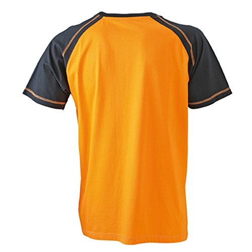 JAMES & NICHOLSON T-Shirt in sportlicher, zweifarbiger Optik Orange/Black