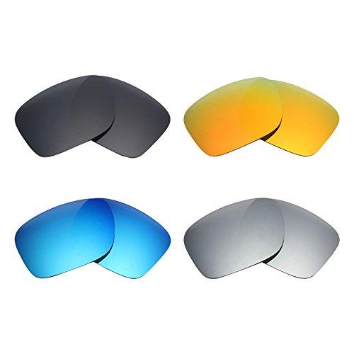 MRY 4Paar Polarisierte Ersatz Gläser für Oakley Holbrook sunglasses-stealth schwarz/fire rot/ice blau/silber titan