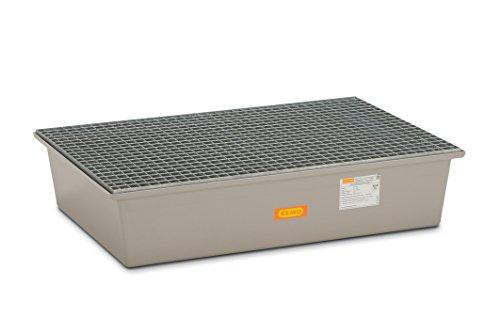 CEMO 6875 GFK-Auffangwanne mit verzinktem Gitterrost, grau, 220 L