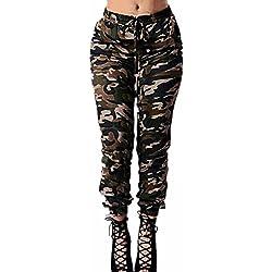 StyleDome Pantalones Largos Camuflaje Cordón Casuales Elegantes Jogging Deporte para Mujer Camuflaje EU 38-40