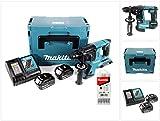 Makita DHR 263 RMJ 2x18V / 36 V SDS-Plus Akku Bohrhammer mit 2 x 4,0 Ah Akku + DC18RC Ladegerät im Makpac 4 + 5 tlg. Hartmetall Bohrer Set für Mauerwerk und Beton