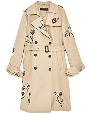 Monissy Womens Floral Printing Trench Coat Bell Sleeve Long Blouson Outwear Casual Coat Jacket