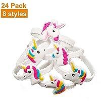 PYHOT Unicorn Pulseras, niños Pulsera de Goma de PVC para niños de cumpleaños Navidad Regalo de Recuerdo de la Fiesta Suministros