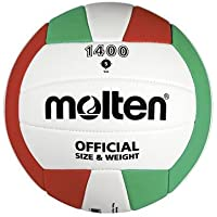 Molten v5C1400Voleibol pelota tamaño 5, color blanco/verde/rojo, tamaño 5