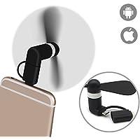 Vitutech Micro Phone ventilateur, Mini USB ventilateur 2-in1 micro port USB électrique ventilateur pour IOS & Android phone (Noir)