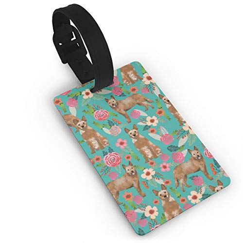 Australian Cattle Dog Red Heeler Floral Dog Florals Travel Luggage Tags Name ID Identification Labels Set for Bags Baggage Suitcases Thick PVC Wristband -
