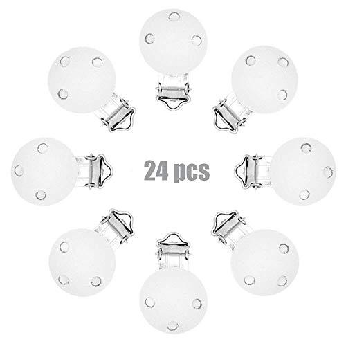 ARTESTAR-24 pcs Clips holz schnuller stücke hölzerne für schnullerketten zubehör für baby (Weiß)