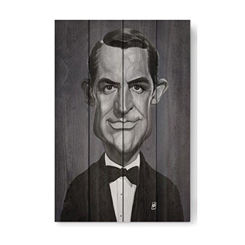 artboxONE Holzbild 60x40 cm Lustig Cary Grant von Künstler Rob Snow - Grant Holz-künstler