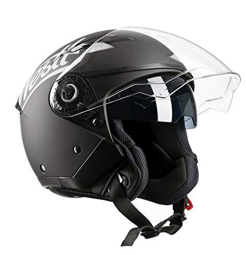Westt® Jet · Casco Moto Jet Abierto para Motocicleta Ciclomotor y Scooter con Doble Visera · Cascos de Moto Mujer y Hombre en Negro Mate · ECE Homologado