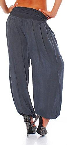 malito Pantaloni alla zuava Aladin Harem Pantaloni Boyfriend Sbuffo Pump Baggy Yoga 1482 Donna Taglia Unica grigio
