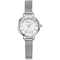 XLORDX Kimio Damen Armbanduhr Einfach Minimalismus Gitter Edelstahl Armreif Quarz Analog Uhr Silber