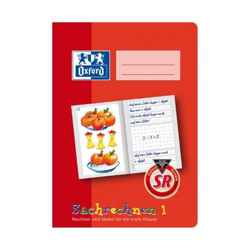 OXFORD 100050107 Sachrechenheft Schule 10er Pack A5 16 Blatt Lineatur SR1 (1. Klasse) Sachrechnen 1 rot Sr Oxford
