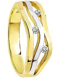 Diamond Line Diamant-Ring Damen 375 Gold mit 3 Diamanten 0.10ct.