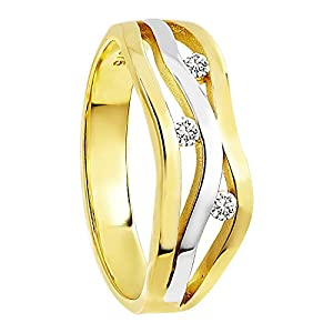 Diamond Line Diamant-Ring Damen 375 Gold mit 3 Diamanten 0.10ct.