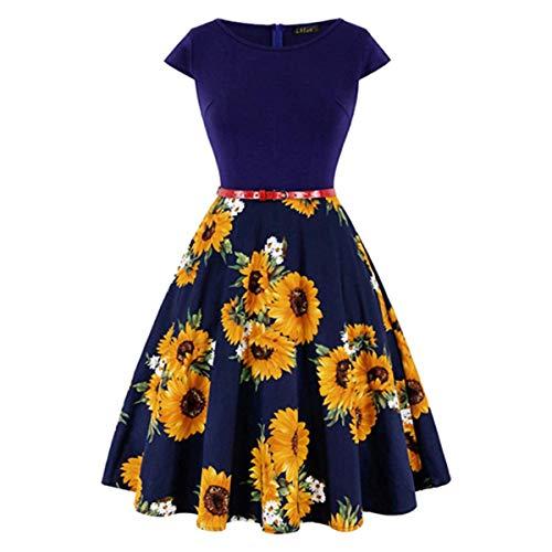 HOTSTREE Plus Size 4XL Dress kleding vrouwen Vintage Elegant Cap Sleeve Lemon Flower Print pin up Fashionable Dresses kerst jurk Navy Blue S - Old Navy Striped-shorts