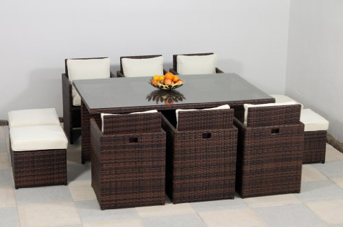 essella polyrattan essgruppe vienna 6er in bicolor braun. Black Bedroom Furniture Sets. Home Design Ideas