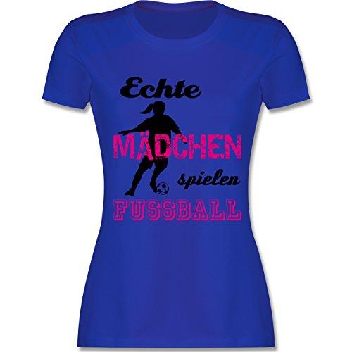 Shirtracer Fußball - Echte Mädchen Spielen Fußball - Schwarz - Damen T-Shirt Rundhals Royalblau