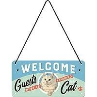 Nostalgic-Art 28027Welcome Guests Cat | Retro hängeschild | Vintage Decoración de Pared | Letrero De Puerta |Metall | 10x 20cm,, 10x 20x 0.1cm