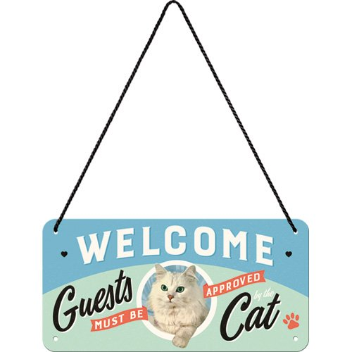 Nostalgic-Art 28027 Welcome Guests Cat | Retro hängeschild | Vintage Decoración de pared | Letrero De Puerta |metall | 10 x 20 cm, multicolor, 10 x 20 x 0.1 cm