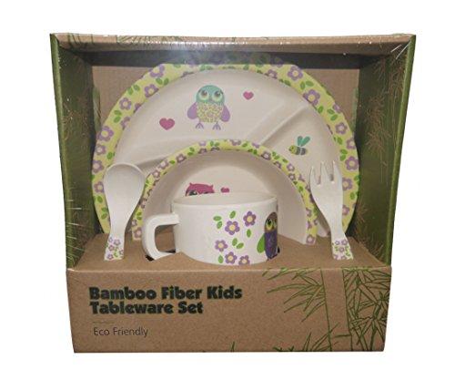Aus diesen niedlichen Kinder Bambusgeschirr von Bebanino macht die Mahlzeit für Ihre Kinder Spaß! Ideal auch für die ersten selbständigen Häppchen, dass 5-teilige Kindergeschirr Set ist aus biologisch abbaubaren Bambus hergestellt und natürlich frei von Giftstoffen / Kinder-Baby Bambusgeschirr Set ist geruchs- und geschmacktsneutral Spülmaschinengeeignet und robust! Einfach ein farbenfroher Hingucker am Tisch. Babygeschirr Bambus-Set (Eule-Mädchen)