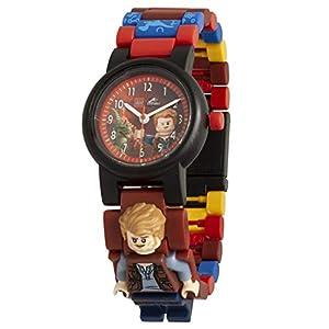Armbanduhr Lego Jurassic World – Owen, inklusive 12 zusätzlichen Armbandgliedern, Lego Minifigur im Armband integriert, analoges Ziffernblatt, kratzfestes Acrylglas