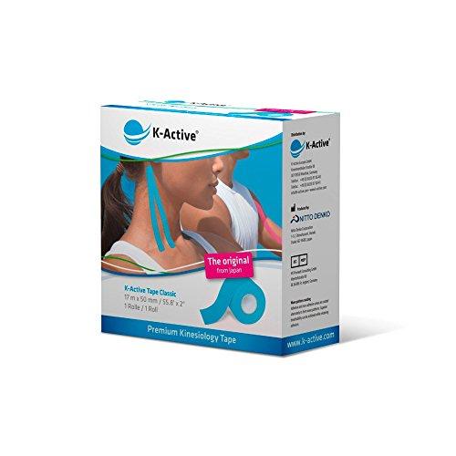 K-Active Kinesiologie Tape Classic BLAU, wasserabweisend und hypoallergen, 50mm x 17 m, 1er Box