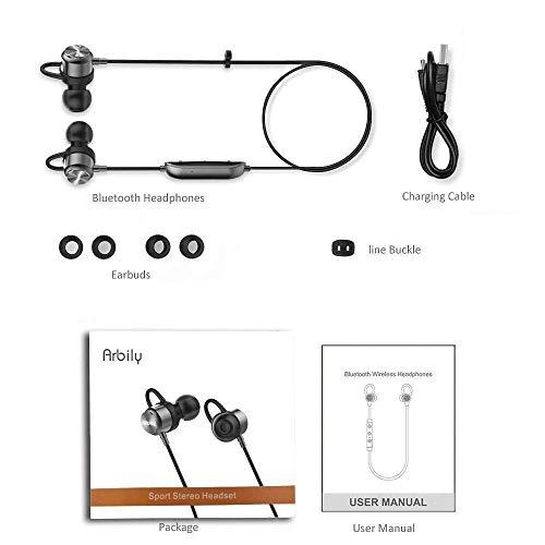 Arbily Bluetooth Kopfhörer, Y3 Sport Kopfhörer Leichter Magnetisch Stereo Noise Canceling Kopfhörer Wireless IPX7 Sweatproof In-Ear Sport Headset mit Mikrofon für Sport, Reisen und mehr(Silber) - 8