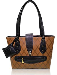 AZED Collection Leather Handbag With 2 Compartments & 7 Pocket Zipper Included (Brown)