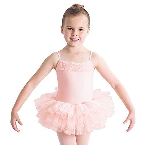 (CL7120) Bloch - Desdemona -Kinder Ballett Trikot Mädchen Rock Tutu Light Pink- Helles Rosa Alter 4 - 6 Jahre Große Mädchen Rosa Trikot