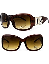 DG Eyewear ® Sunglasses - New Season Collection for 2016 - Full UV400 Protection - Women Ladies Fashion Brown Oversize - Model : DG Beverly Hills (New Season Ladies Collection) With FREE Pouch