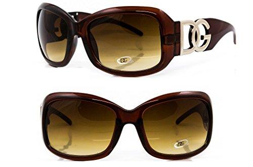 DG Eyewear Sonnenbrillen von DG Studio ® für Frauen Neu Kollektion - UV400 - Schutz - Damen Mode Braun Designer Übergröße - Modell: DG Beverly (Damen-Accessories ) Sonnenbrille
