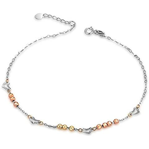 Tri-Colour, colore: giallo, 14 carati, decorazione in oro bianco, con perle e cuore Cavigliera da donna (23 cm)-Confezione regalo per San Valentino, anniversario di matrimonio - 14k Tri Colore Perle