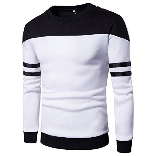 Hommes Tops Sweatshirt T-shirt Pull patchwork à manches longues Outwear Blouse, Amlaiworld Veste Homme Sweatshirt Blouson❤️ (L, Blanc)