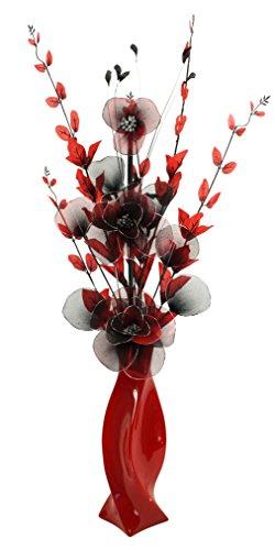 Flourish 721374PT-30Rojo–Jarrón con flores y negro flores artificiales, 80cm