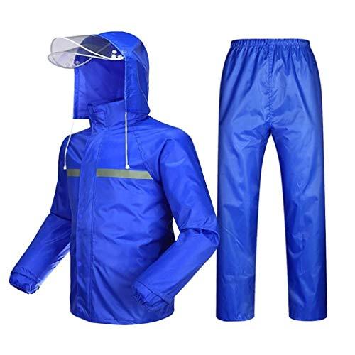 YDS SHOP Adulto Impermeabile Universale, Ciclismo Moto Golf Pesca Lavoro all'aperto Impermeabile Impermeabile, Giacca Antipioggia e Pantaloni da Pioggia Vestito (Color : Royal Blue, Size : XXL)